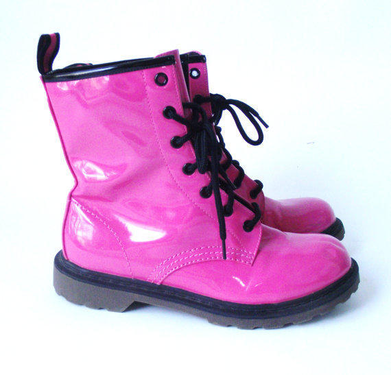 Vintage Neon Hot Pink Lace Up Combat Boots 9