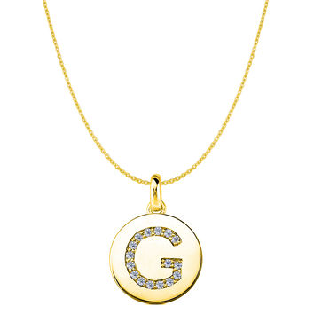 """G"" Diamond Initial 14K Yellow Gold Disk Pendant (0.16ct)"