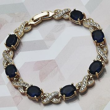 Gold Layered Women Tennis Bracelet, with Sapphire Blue Cubic Zirconia, by Folks Jewelry