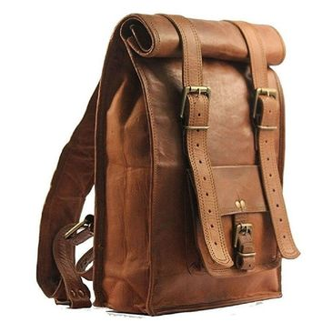 IN-INDIA Unisex Real Leather Office/College Mini Backpack For Books,iPad- Fits Laptop - Fordable Upto 22 Inches