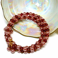 Vintage Rose Glass Pearl and Czech Red Glass Gold Memory Wire Bracelet