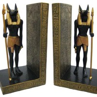 Pair Of Egyptian Jackal God Anubis Bookends Book Ends