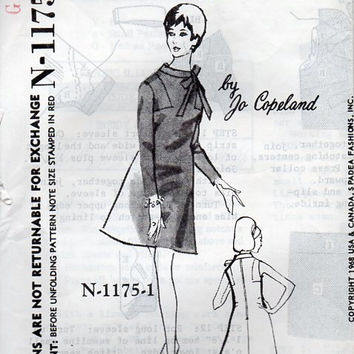 Vintage 60s Spadea Designer Sewing Pattern Jo Copeland A-line Dress Mod Retro Jackie O Style Stand Up Collar Tie Neckline Bust 34