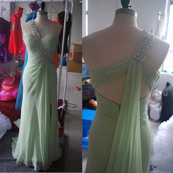 Sage Chiffon One-shoulder Strap Appliques Beadings Floor Length Sexy Prom Dress Prom Gown Evening Party Dress