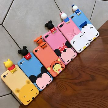 Fashion 3D Cute Cartoon Mickey Minnie Mouse Donald Duck phone Case For iphone 6 Plus 7 6s 8 Plus Soft Silicon Cover coque funda