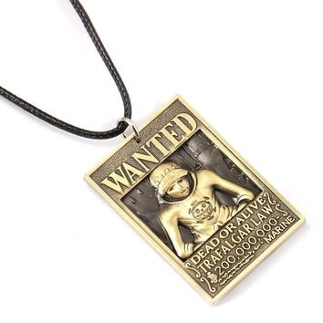 One Piece Wanted Poster Law Metal Alloy Necklace