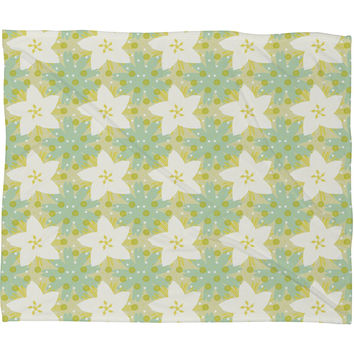 Caroline Okun Blue Susan Fleece Throw Blanket