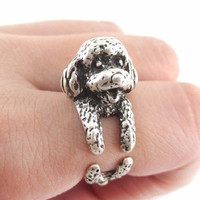 Vintage Handmade Adjustment Cute Spaniel Open Ring + Beautiful Gift Box