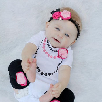 Size 3-6 month Hand Painted Pearl Necklace Outfit with Matching Pink Baby Legs, Pin and Headband - Baby Outfit