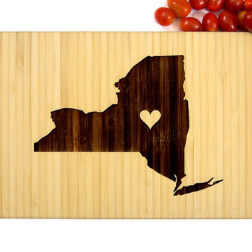Personalized Cutting Board, Custom Wedding Gift, Anniversary Gift, Housewarming Gift, New York State Engraving With Heart, Americana Map
