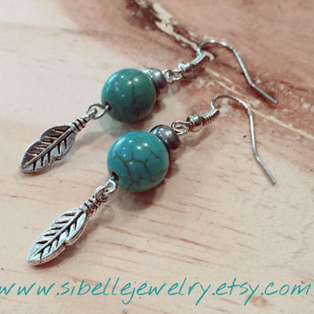 Handmade beaded feather earrings / aqua and silver earrings / beaded jewelry / feather jewelry / boho chic earrings / hippie / gypsey
