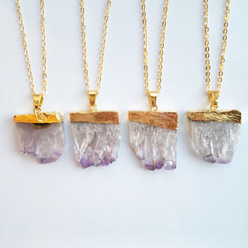 FREE UK SHIPPING - Amethyst Slice Pendant - Agate - Raw Crystal - Natural Stone - Rough Necklace - Druzy
