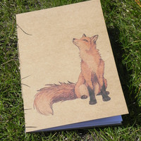 A5 Fox Journal - Handmade recycled paper notebook with plain white pages