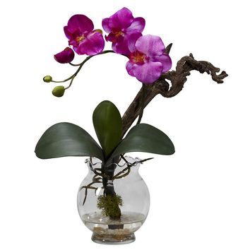 Silk Flowers -Mini Purple Phalaenopsis With Fluted Vase Flower Arrangement