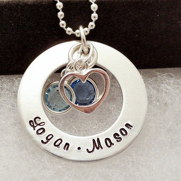 Personalized Necklace - Hand Stamped - Silver - Heart and Birthstone Necklace