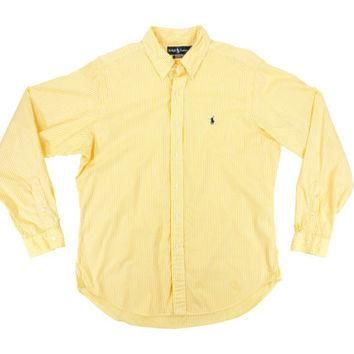 Vintage Yellow Striped Oxford Shirt - Ralph Lauren Polo Button Down White Stripes Dres