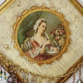 Vintage Florentine Plaque Jewelry Organizer Victorian Woman Earring Holder