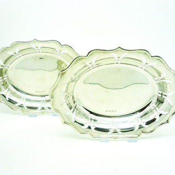 Solid Silver Dishes, Bon Bon, Nuts, Sterling, PAIR, Vintage, English, Tableware, Hallmarked Birmingham 1924, REF:253W