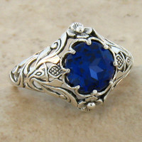 Antique vintage Art Nouveau sterling silver 2.5Ct Sapphire ring size 8