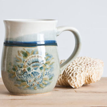 Vintage Otagiri Stoneware Seashell Mug, Beach Ocean Coffee Cup, Hand Decorated Japan