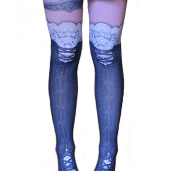 Steampunk Corset Tattoo Tights Lace Adult Seamless Leggings Opaque Pink Black White w/ Garter