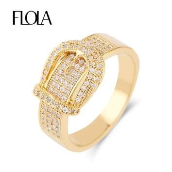 FLOLA Luxury Fashion Inlaid AAA Zircon Belt Buckle Ring Woman Gold Finger Ring Jewelry Accessories anillo de circon Anel rigf53