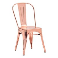 Elio Industrial Style Dining Chair Rose Gold Steel (set of 2)