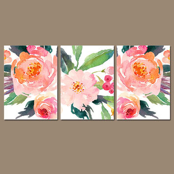 WATERCOLOR Floral Wall Art - Watercolor Flower Art - Watercolor Decor - Floral Nursery Decor - Floral Artwork - Set of 3 Canvas or Print