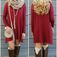 Becoming Royalty Burgundy Long Sleeve Dress