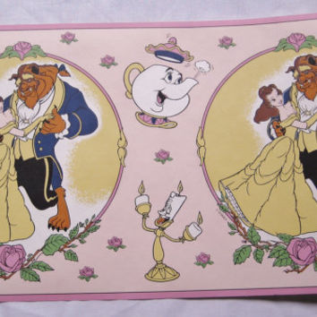 Disney Beauty and the Beast Wallpaper Border Prepasted Strippable Washable 30 Feet Girl Kids Bedroom Decor Craft Supply UNUSED Sealed