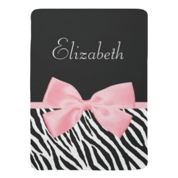 Chic Zebra Print Soft Girly Light Pink Ribbon Baby Blanket