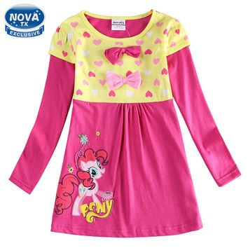 girls clothes girls dress casual princess dresses for girls appliques cartoon my littles pony butterfly children clothing H6499