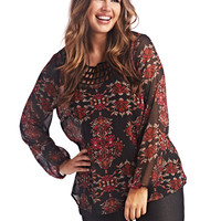 Straped Neck Aztec Blouse | Wet Seal+