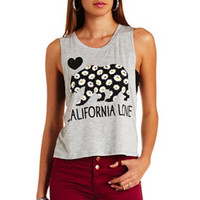 CALI LOVE DAISY BEAR GRAPHIC MUSCLE TEE