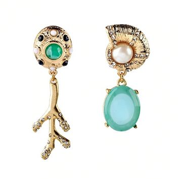 Luxe Spring Green Asymmetrical Mismatched Earrings