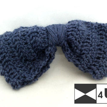 Deep Blue Hand Knitted Bow Tie Crochet Bow Tie Dickie Bow Bowtie Wedding Bow Tie Groomsmen Bow Tie Man Men Lady Gift Fancy BowTie4You Unique