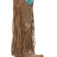 Corral Women's Vintage Honey w/ Embroidery Studs & Fringe Toe Western Boot