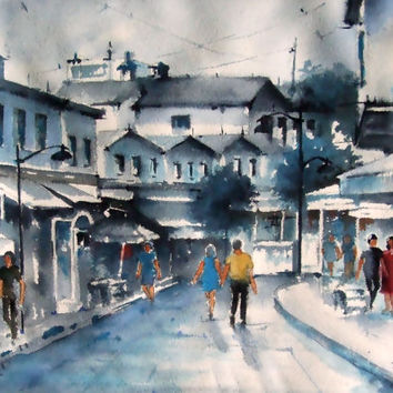Original Watercolor Painting, City Scape, City, Blue City, Blue, Figures