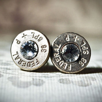 Bullet Studs- Gunpowder and Glitz Bullet Studs in Silver and Crystal