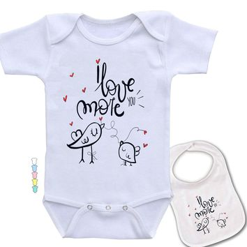 Love you more - Hand Drawn Mom and baby bird love  theme funny Onesuit & bib Set. (Available in 5 Colors)