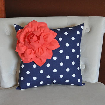 Coral Flower on Navy and White Polka Dot Pillow 14 X 14 - Chevron Flower Pillow - Zig Zag Pillows -Corner Dahlia Pillow