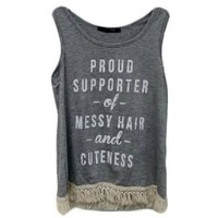 """Girls """"Proud Supporter of Messy Hair and Cuteness w/Lace Bottom Tank Top, Grey (Size 6-6X)"""