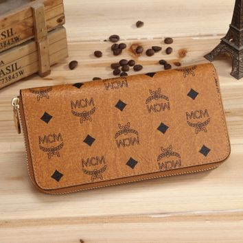 Fashion MCM Women Leather Zipper Purse Wallet In 4 Colors