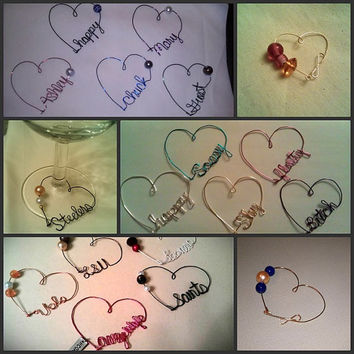 Wire Heart Wine Charm with Custom Word in Any Color with Optional Beads/Pearls and Charms