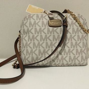 DCCKWA2 NWT MICHAEL KORS WOMEN'S VANILLA MK SIGNATURE CINDY DOME CROSS-BODY SHOULDER BAG