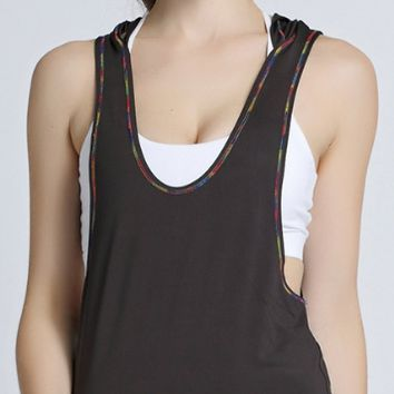 The new sport sleeveless T-shirt is quick dry section dyed silk thread outdoor half sleeve girl yoga bodysuit