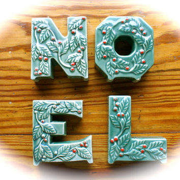 Vintage NOEL Ceramic Letter Candle Holders Mid Century Green with Red Holly Berries Thames Japan