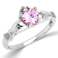 14k Gold Plated 925 Silver Irish Claddagh Friendship & Love Promise October Pink Topaz Band Ring Sizes 5 - 9:Amazon:Jewelry