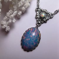 Opal Pebble Opal Pendant Flower Necklace