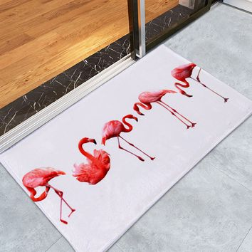 Flamingo Coral Velvet Floor Bath Rug